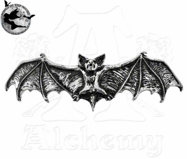 Alchemy Gothic Darkling Bat Silver Hair Slide